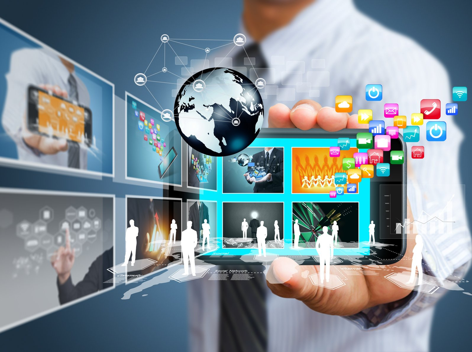 Touch screen mobile phone with business concept